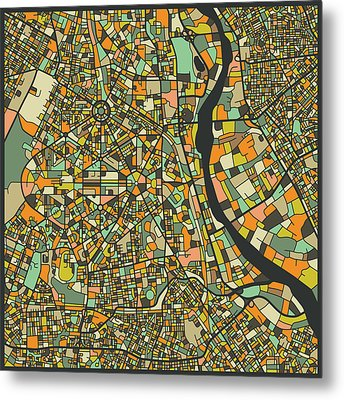 New Delhi Map Metal Print by Jazzberry Blue