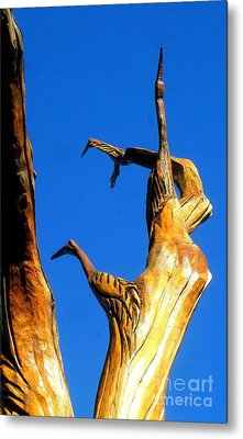 New Orleans Bird Tree Sculpture In Louisiana Metal Print by Michael Hoard