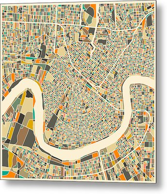 New Orleans Map Metal Print by Jazzberry Blue