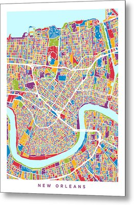 New Orleans Street Map Metal Print by Michael Tompsett