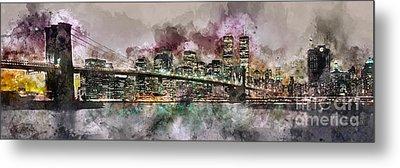 New York City Skyline Watercolor  Metal Print by Jon Neidert