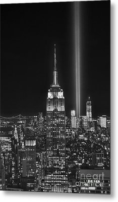 New York City Tribute In Lights Empire State Building Manhattan At Night Nyc Metal Print by Jon Holiday