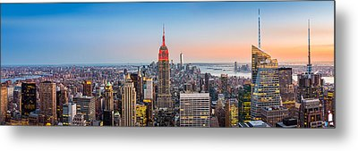 New York Skyline Panorama Metal Print by Mihai Andritoiu