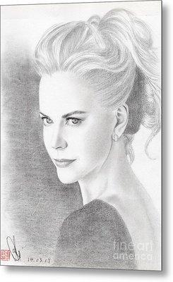 Metal Print featuring the drawing Nicole Kidman by Eliza Lo