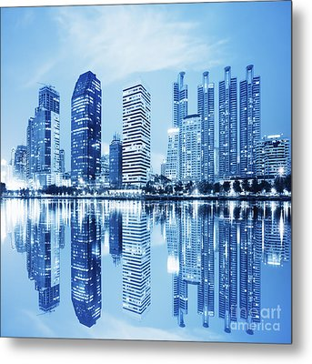 Night Scenes Of City Metal Print by Setsiri Silapasuwanchai