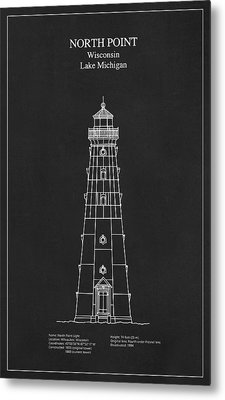 North Point Lighthouse - Wisconsin - Blueprint Drawing Metal Print