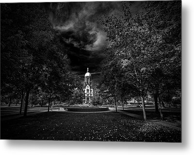 Notre Dame University Black White Metal Print by David Haskett