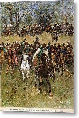 Oklahoma Land Rush, 1891 Metal Print by Granger