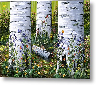Metal Print featuring the painting Old Aspen Grove by Jennifer Lake