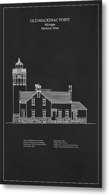 Old Mackinac Point Lighthouse - Michigan - Blueprint Drawing Metal Print