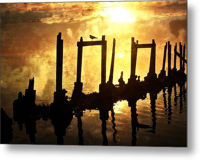Old Pier At Sunset Metal Print by Marty Koch