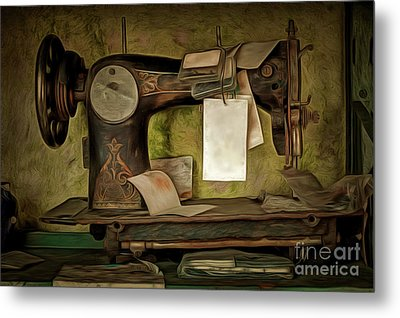 Old Sewing Machine Metal Print by Michal Boubin