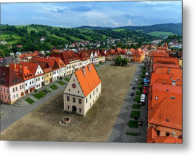 Old Town Square In Bardejov, Slovakia Metal Print by Elenarts - Elena Duvernay photo