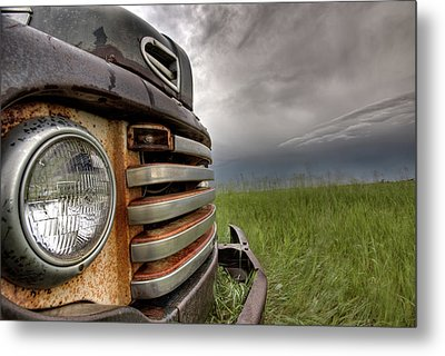 Old Vintage Truck On The Prairie Metal Print by Mark Duffy