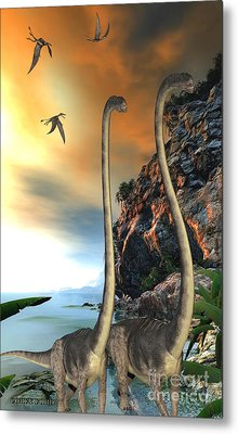 Omeisaurus Dinosaurs Metal Print by Corey Ford