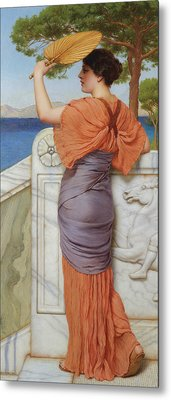 On The Balcony Metal Print by John William Godward