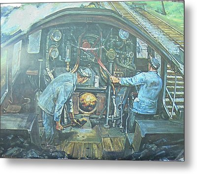 Metal Print featuring the painting On The Footplate by Mike Jeffries