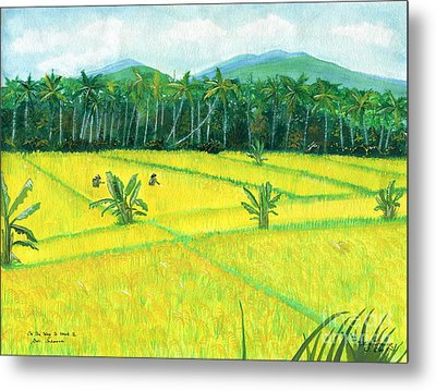 Metal Print featuring the painting On The Way To Ubud II Bali Indonesia by Melly Terpening