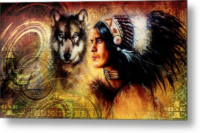 One Dollar Collage With Indian Man Warrior With Wolf Ornament Background Metal Print by Jozef Klopacka