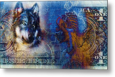 One Dollar Collage With Indian Woman Warrior And Wolf, Ornament Background Metal Print by Jozef Klopacka