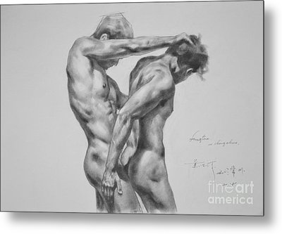 Original Drawing Sketch Charcoal Male Nude Gay Interest Man Art Pencil On Paper -0035 Metal Print by Hongtao     Huang