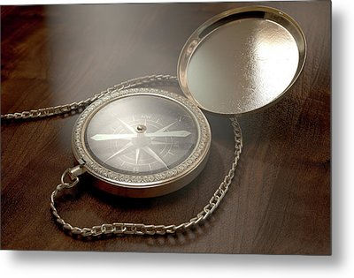 Ornate Pocket Compass Metal Print