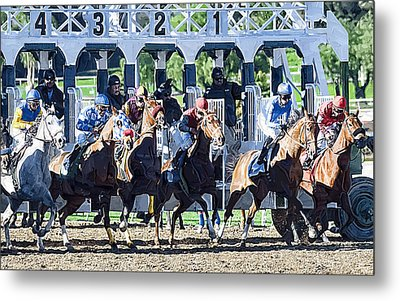 Out Of The Gate Metal Print by Clarence Alford