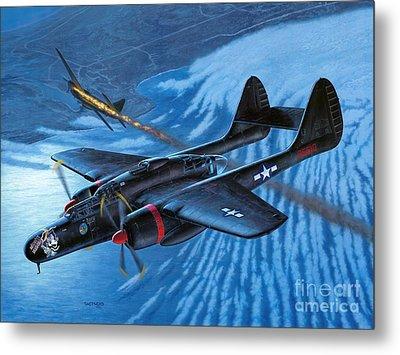 P-61 Black Widow - Caught In The Web Metal Print by Stu Shepherd