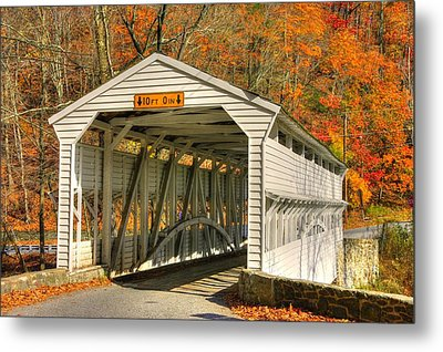 Pa Country Roads - Knox Covered Bridge Over Valley Creek No. 2a - Valley Forge Park Chester County Metal Print by Michael Mazaika