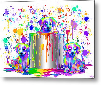 Painted Puppies  Metal Print by Nick Gustafson