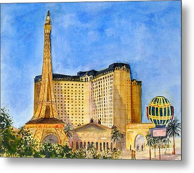 Paris Hotel And Casino Metal Print by Vicki  Housel