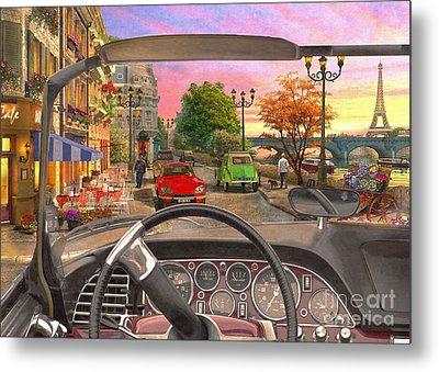 Paris In A Car Metal Print by Dominic Davison