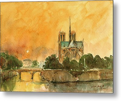 Paris Notre Dame Metal Print by Juan  Bosco