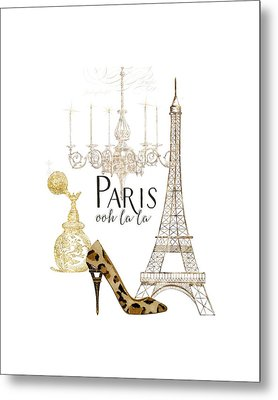 Paris - Ooh La La Fashion Eiffel Tower Chandelier Perfume Bottle Metal Print