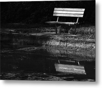 Metal Print featuring the photograph Park Bench Reflections by Wanda Brandon