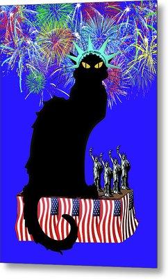 Patriotic Le Chat Noir Metal Print by Gravityx9 Designs