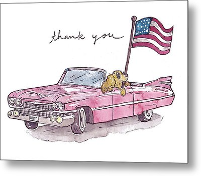 Patriotic Puppy Thank You Card Metal Print