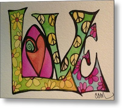 Peace And Love Metal Print by Claudia Cole Meek