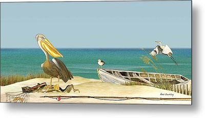 Pelican Fishing Metal Print by Anne Beverley-Stamps