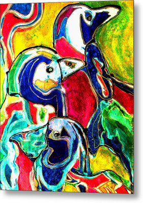 Penguins In Color Metal Print by Laura  Grisham