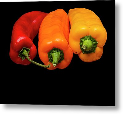 Metal Print featuring the photograph Peppers Red Yellow Orange by David French