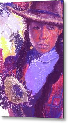 Peruvian Girl With Sunflower Metal Print