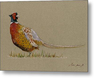 Pheasant Bird Art Metal Print by Juan  Bosco