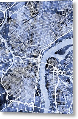 Philadelphia Pennsylvania City Street Map Metal Print by Michael Tompsett