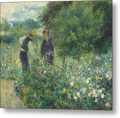 Picking Flowers Metal Print by Pierre Auguste Renoir