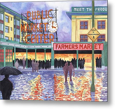Pike Place Lights Metal Print