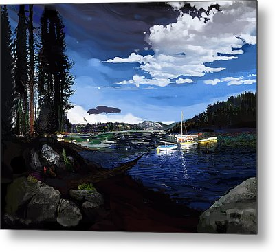 Pinecrest And Boats Metal Print by Brad Burns