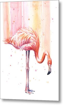 Pink Flamingo - Facing Right Metal Print by Olga Shvartsur