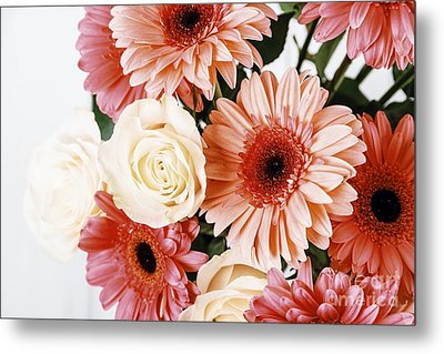 Pink Gerbera Daisy Flowers And White Roses Bouquet Metal Print