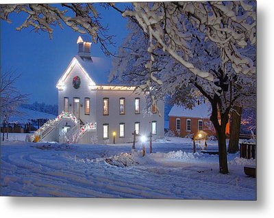 Pioneer Church At Christmas Time Metal Print by Utah Images